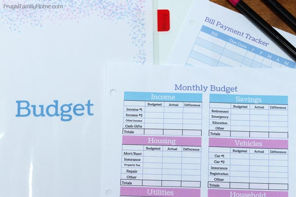 Budgeting sheets for a homemaking binder