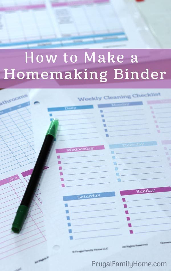 printable sheets for how to make a homemaking binder.