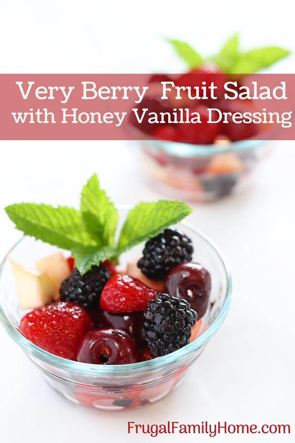 Very berry fruit salad with honey vanilla dressing in a serving bowl.