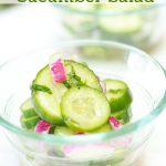 Up close photo of the easy cucumber salad recipe.