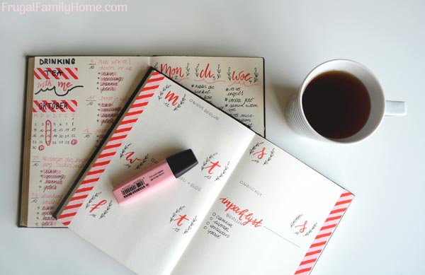 a planner on a desk for homemaking goal setting