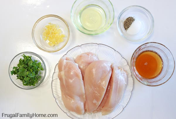 Ingredients needed for the garlic parsley chicken recipe