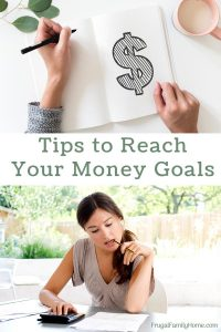 money sign on a book and a women working on meeting money goals.
