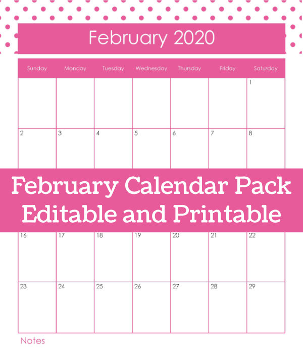 Printable calendar page for 2020 February