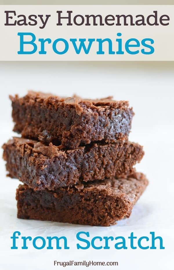 Three of the easy homemade brownies stacked and ready to eat.