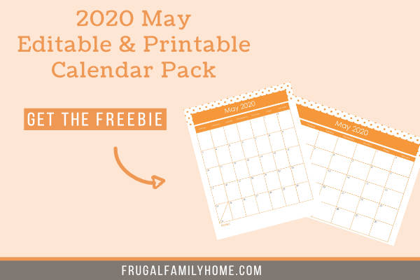 Two calendar pack for May 2020