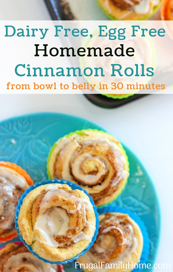 Dairy free egg free cinnamon rolls made without yeast.