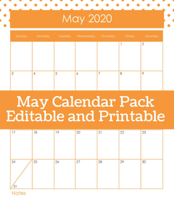 May Printable Calendar Pack