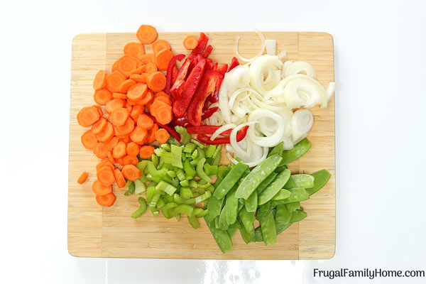 The chopped vegetables for easy stir fry