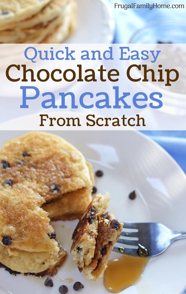 Chocolate chip pancakes on a plate to serve.