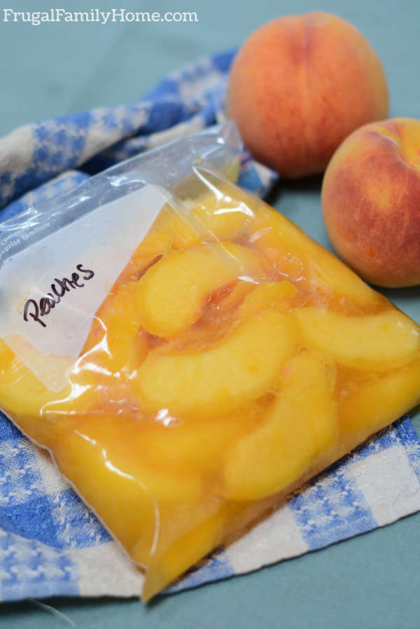 Freezing peaches without them turning brown.