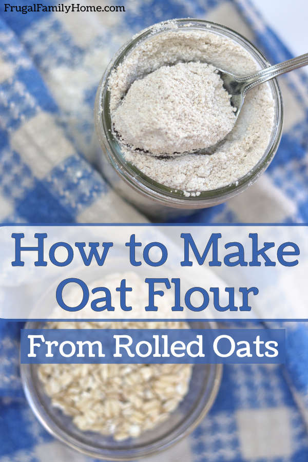 homemade oat flour in a jar with a spoon.