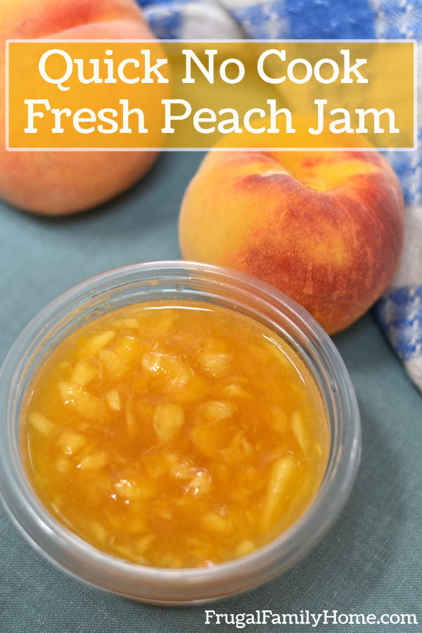 The fresh peach jam ready for freezer.