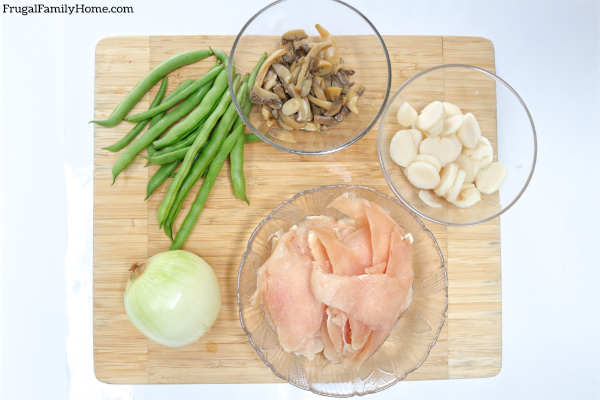 The ingredients for this stir fry dinner recipe.