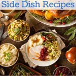 A holiday table full of yummy side dishes.