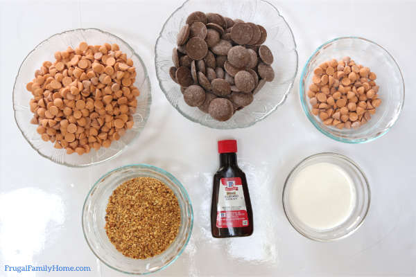 the 4 ingredients needed to make butterscotch truffles.