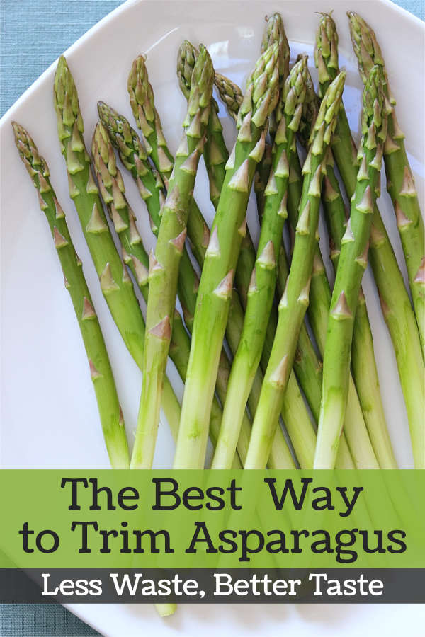 Trimmed asparagus stalks on a plate