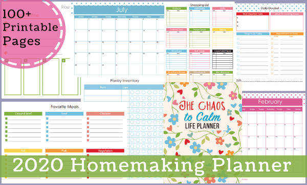 100+ pages in the editable homemaking planner.