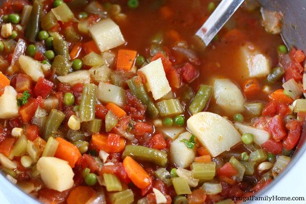 upclose vegetable soup