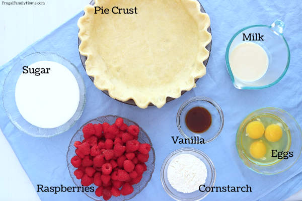 ingredients for raspberry custard pie