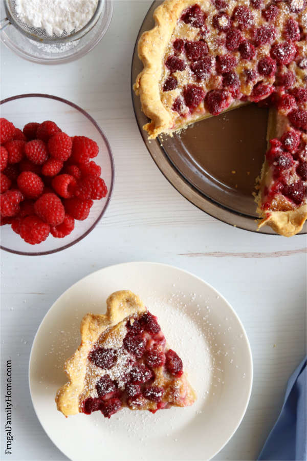A slice of raspberry custard pie.